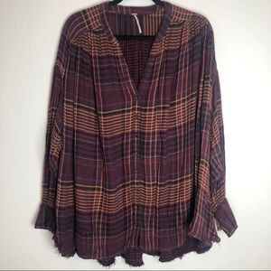 Free People Plaid Textured Button Fringe Hem Top